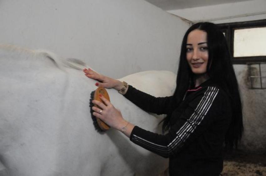 Ojeli tırnakları ile atların bakımlarını yapıyorlar