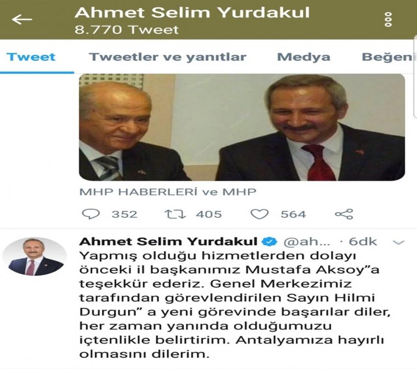 MHP Antalya İl Başkanlığına Hilmi Durgun getirildi