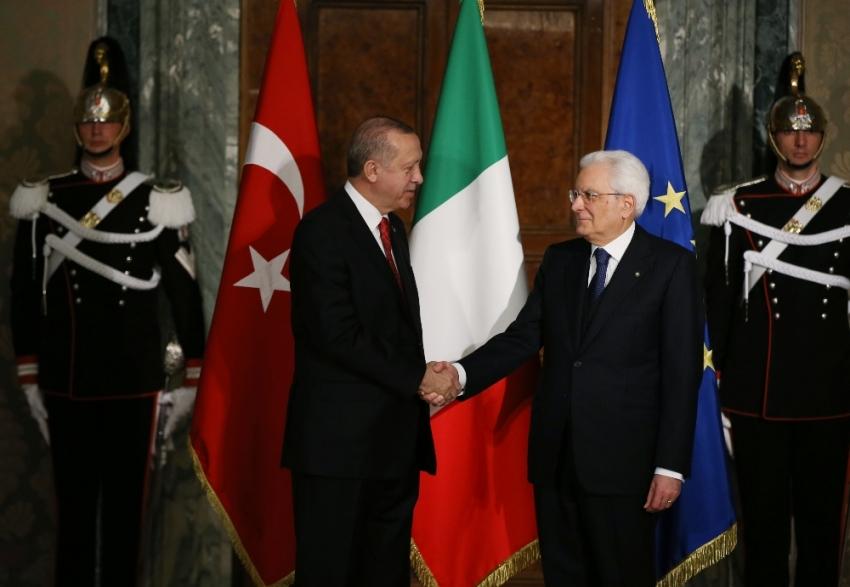 Cumhurbaşkanı Erdoğan, İtalyan mevkidaşıyla bir araya geldi