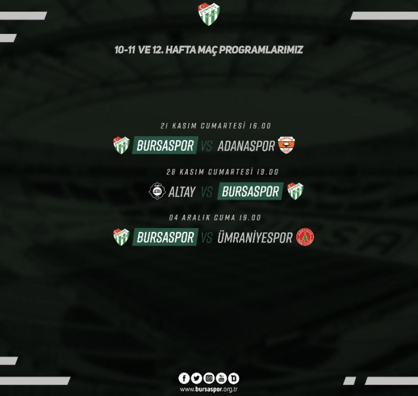 Bursaspor'un 3 haftalık maç programı belli oldu