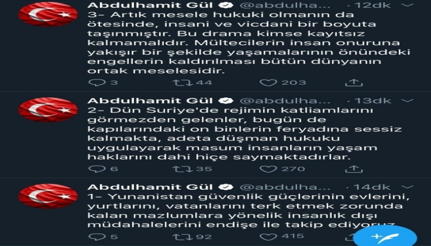"Bakan Gül'den Yunanistan'a ""mülteci"" tepkisi"