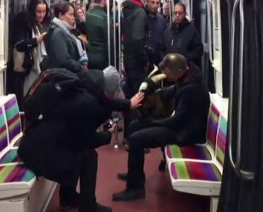 Çaldığı keçiyle metroya bindi
