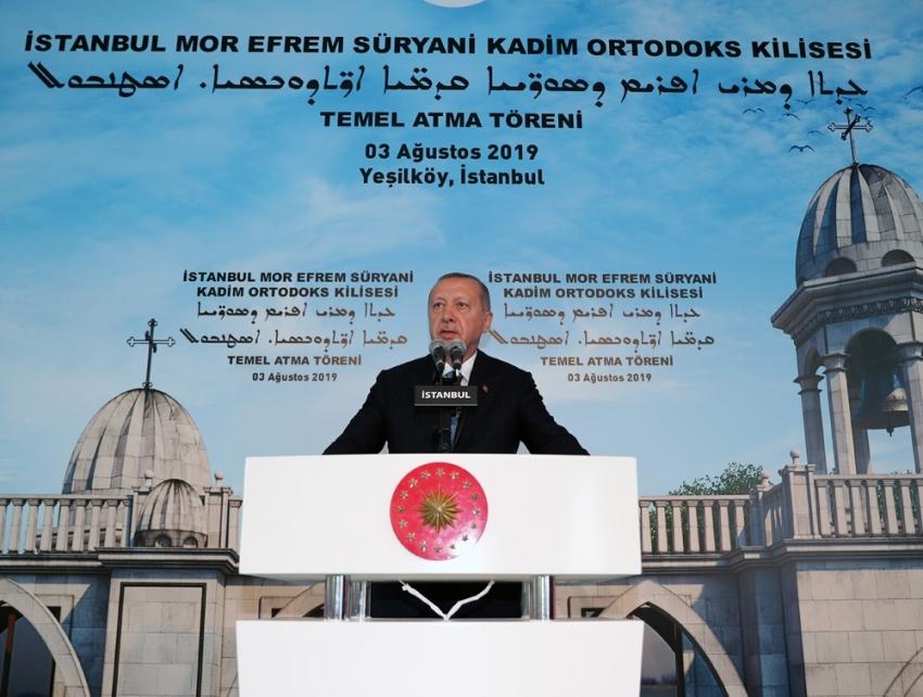 """Erdoğan: """"Bu kiliseyi İstanbul'umuz için yeni bir zenginlik olarak görüyorum"""""""