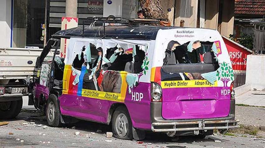 HDP seçim aracına molotoflu saldırı!