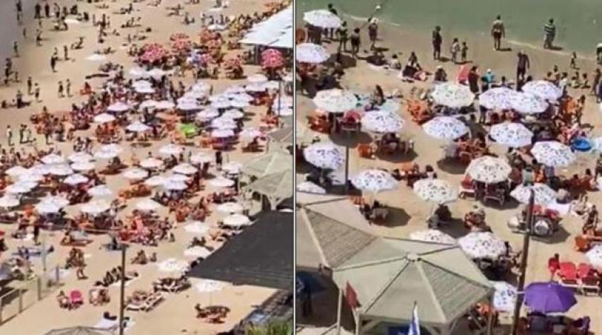 Maske zorunluluğunu kaldıran İsrail'de plajlar tıklım tıklım