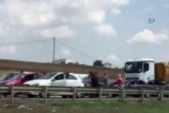 Kadınların trafikteki saç saça kavgası kamerada