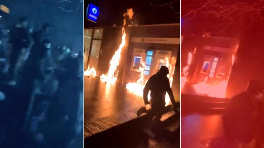 Polis merkezini ateşe verip Kral'ın aracını taşladılar
