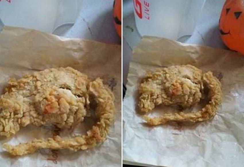 Kızarmış tavuktan fare çıktı