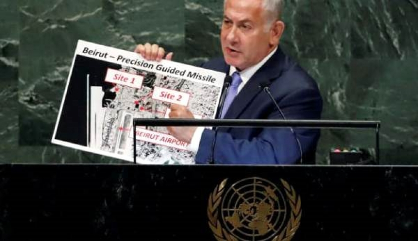 Netanyahu, Beyrut'taki patlamanın olduğu yeri 2018 yılında BM'de işaret etmiş