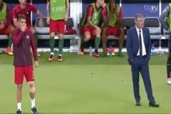 Ronaldo'nun takımını kenardan desteklemesi ve gol sevinci