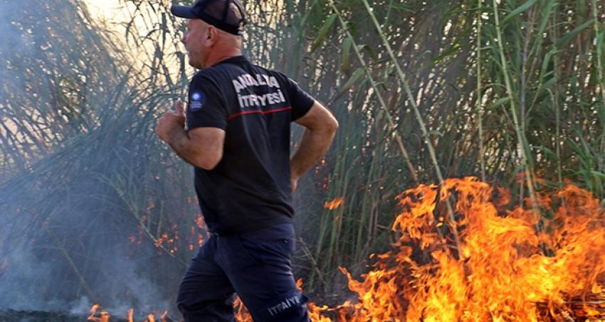 Antalya'da seraları tehdit eden sazlık yangını korkuttu.