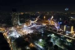 Taksim'de yeni yıl coşkusu havadan görüntülendi