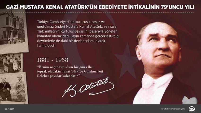 Gazi Mustafa Kemal Atatürk'ün ebediyete intikalinin 79'uncu yılı