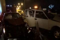 Zincirleme kazada otomobil hurdaya döndü: 1 yaralı